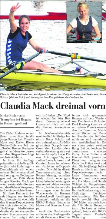 Claudia Mach dreimal vorn