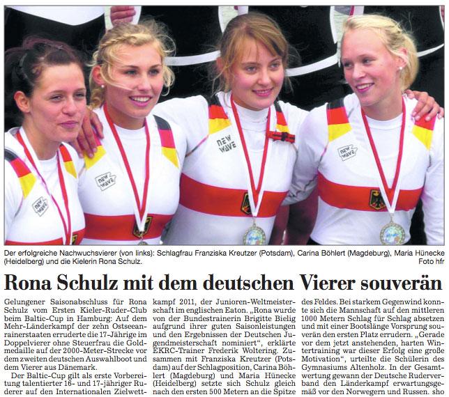 Rona Schulz mit dem deutschen Vierer souverän